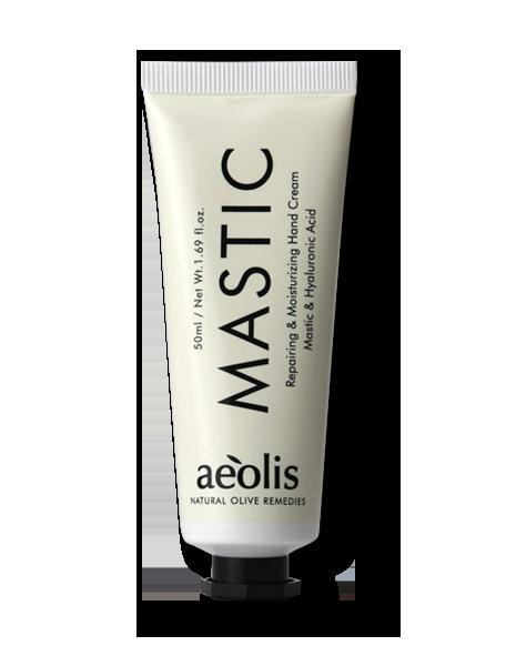 Repareriende & Feuchtigkeitsspendende Handcreme mit Mastix & Hyaluronsäure, 50ml - Mystilli greek products