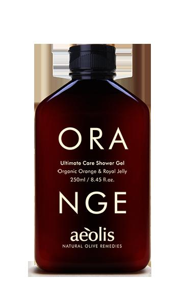 Ultimative Pflege Duschgel mit organischer Orange und Gelée royale , 250ml - Mystilli greek products