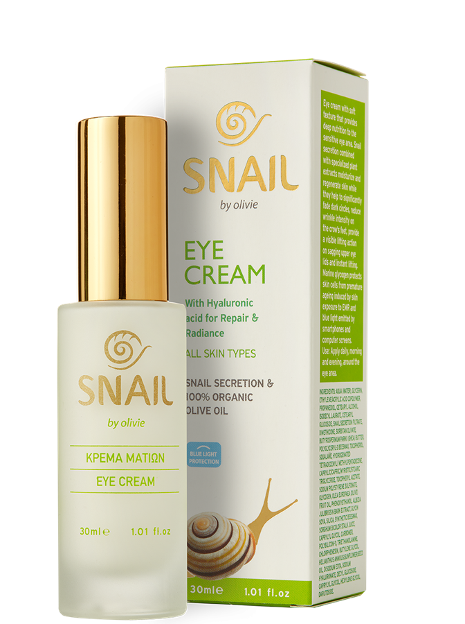 Eye Cream with snail secretion, 100% organic olive oil and hyaluronic acid, for all skin types